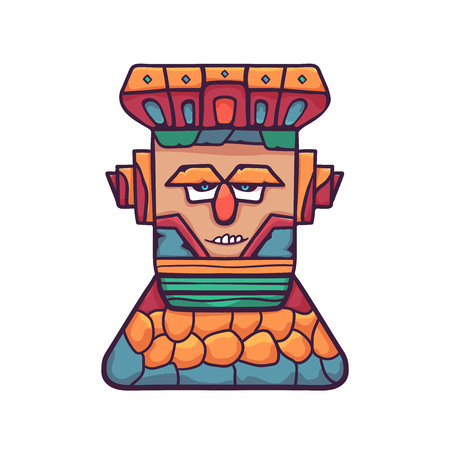 Colorful wooden totem mask. A wooden mask on a stone pedestal, with emotional expressions. Vector linear flat illustration. Illustration