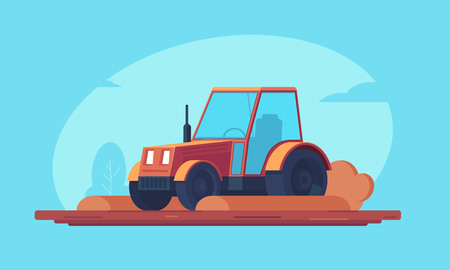 Agriculture. Red farm tractor processes agricultural crops and plowing field. Heavy machinery for field and earthworks. Vector flat illustration. 向量圖像