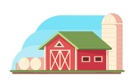 Agriculture. Farm landscape. Red barn, hopper for grain storage and harvest, silo storage and haystack. Vector flat illustration.