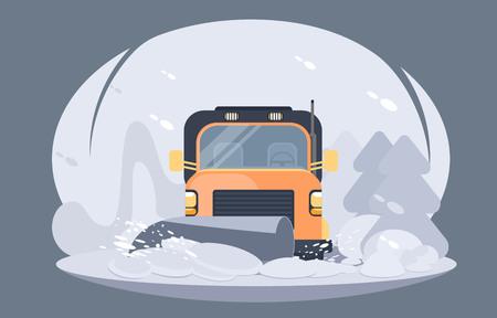 Processo di spazzaneve stradale. Servizio autostradale invernale. Illustrazione vettoriale piatto. Vettoriali