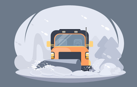 Process of snowplowing road. Winter highway service. Flat vector illustration.