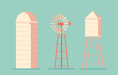 Agriculture. Farm building. Drinking water tower. Windmill waterpump and silo srorage barn for corn and harvest. Flat vectpr illustration 向量圖像