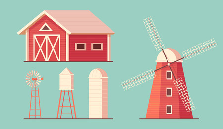 Agriculture. Farm building. Red barn. Drinking water tower. Windmill waterpump and silo srorage barn for corn and harvest. Flat vector illustration 向量圖像