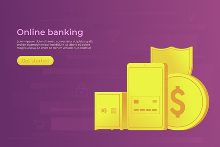 Online bank concept. Secure payment by smartphone in mobile banking. Web banner. Vector illustration. 版權商用圖片 - 126066971