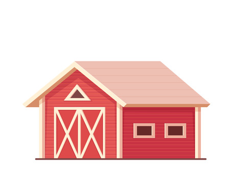 Agriculture. Red farm barn or ranch isolated on white. Vector illustration.