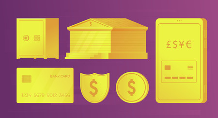 Set of bank golden elements for infographics and web banners. Bank building, credit card, smartphone, coin, safe, shield. Vector illustration.