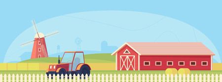 Agriculture. Farm rural landscape with red barn, tractor and windmill. Vector flat illustration.