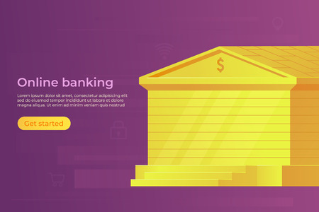 Online internet or mobile banking concept. Gold bank building. Web banner. Vector illustration.