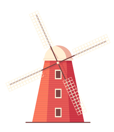Red old windmill isolated on white. Vector illustration.