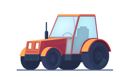 Farm tractor. Service vehicle. Heavy machinery for field and earthworks. Vector flat illustration isolated on white. 向量圖像