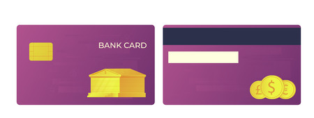 Payment bank card. Bank buildning and international currencies illustration. Front and back view. 版權商用圖片 - 125872669