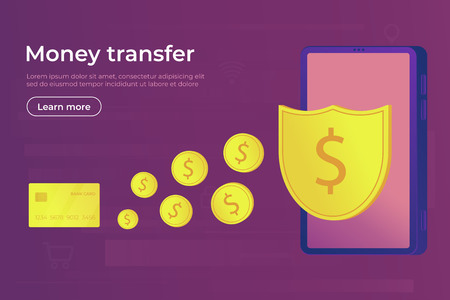 Online payment. Digital secure money transfer and transaction for using smartphone and bank card. Web banner vector illustration.