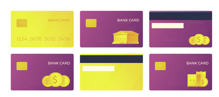 Payment bank card. Bank buildning and international currencies illustration. Front and back view. 向量圖像