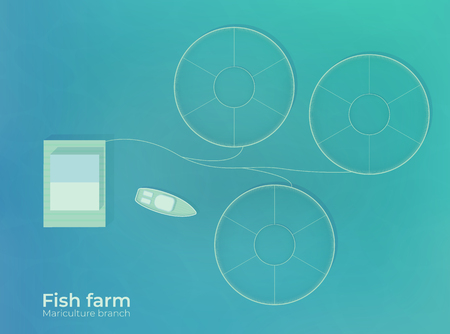 Mariculture. Fish farm in open sea water in special protected ponds. Production for growing and fishing in the ocean. Vector top view illustration.