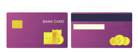 Payment bank card. Gold safe, shield and international currencies illustration. Front and back view. 向量圖像