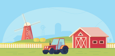 Agriculture. Farm rural landscape with red windmill, tractor and haystack. Vector flat illustration.