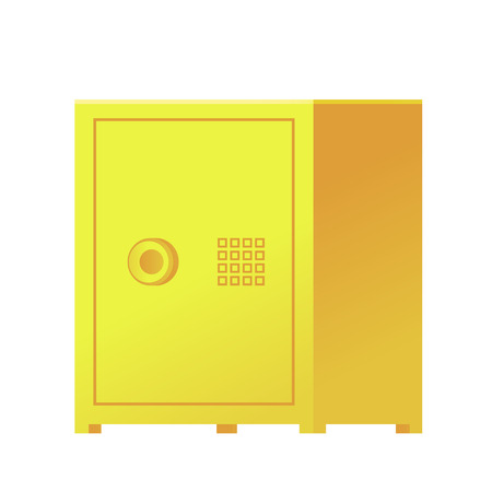 Gold bank closed safe for protection money isolated on white. Vector ilustration.