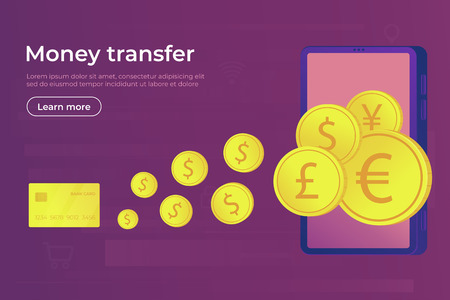 Online payment. Digital secure money transfer and transaction for using smartphone and bank card. Iinternational currencies. Web banner vector illustration.