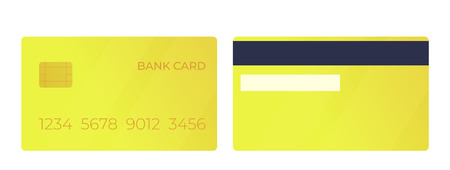 Payment gold bank card. Front and back view. Vector illustration 向量圖像
