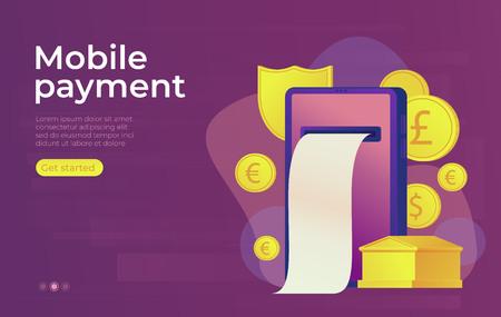 Mobile payment online banking concept. Gold bank building. Web banner. Vector illustration.