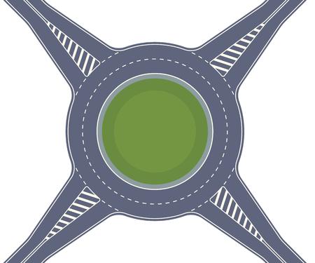 Rotonde weg. Oversteek van snelwegen naar type ringkruising. Vector achtergrond