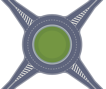 Roundabout road. Crossing of highways by type of ring intersection. Vector background Illustration