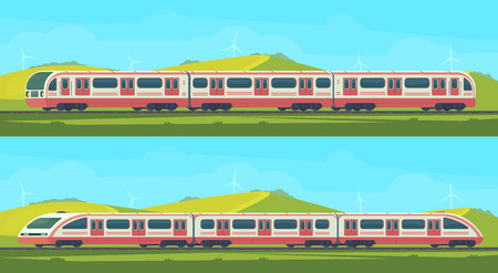 Two passanger modern electric high-speed train with nature landscape in a hilly area. Vector illustation. Railway transport.