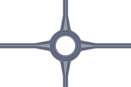 Roundabout road. Crossing of highways by type of ring intersection. Vector background 向量圖像