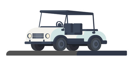 Colf club car. Transport for movement during the game and competition at the golf course. Golf cart or car. Vector illustration isolated onwwhite background. Illustration
