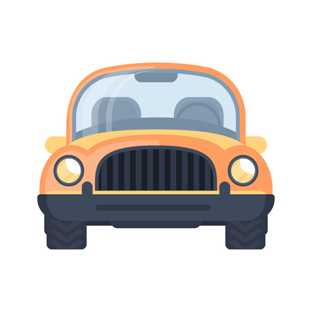 Retro vintage car. Compact car. Urban car. Front view vector illustration. 向量圖像