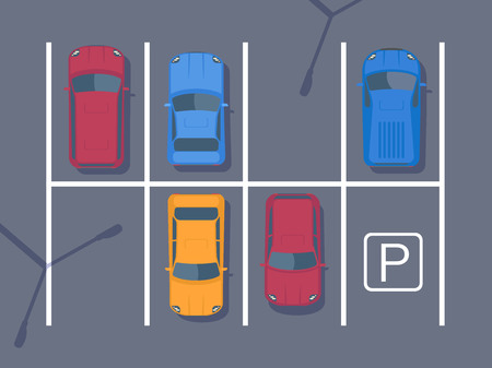 Free car parking lot with different car. Top view vector illustration. Flat style