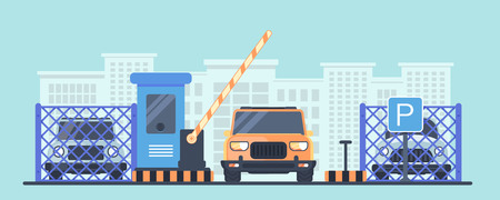 Paid guarded parking for cars. Exit through the checkpoint with a booth and a barrier. Vector flat illustration. Car front view. 向量圖像