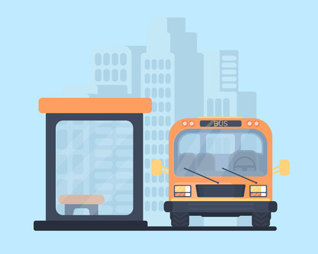 City bus with bus stop. School bus. Vehicle for transportation passengers. City background.