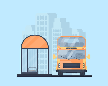 Double-decker bus with bus stop. Vehicle for transportation passangers. Excursion bus. Urban background. Illustration
