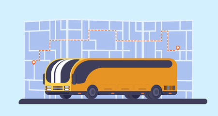 City bus. Paper map on background with route and geolocation mark. Vehicle for transportation passengers. Vector illustration.