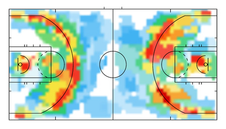 Basketball court with heat map. Tactical and strategy basketball background. Sport background. Map of location players during the game. 向量圖像
