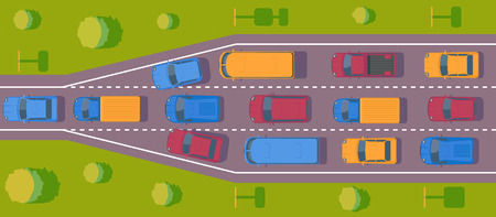 Bottleneck traffic jam. Road dence traffic on motorway or highway. Different car on road. Top view vector.