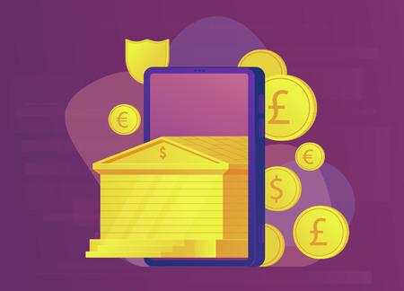 Mobile online banking concept. Gold bank building. Web banner. Vector illustration. 版權商用圖片 - 125522742