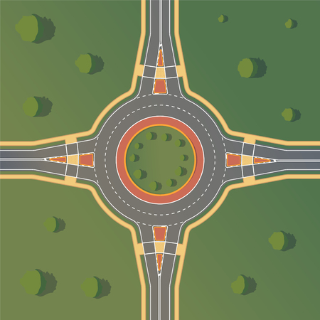 Roundabout road. Crossing of highways by type of ring intersection. Vector background Ilustracja