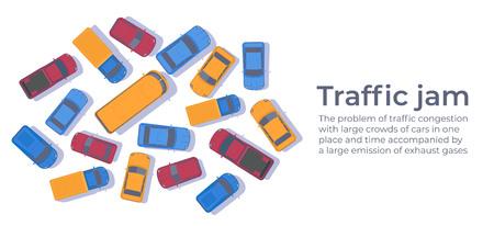 Embouteillage. Gros embouteillages de voitures. Modèle de conception de bannière Web ou d'affiche.