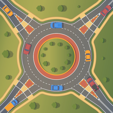 Roundabout road with pedestrian paths, curbs and boards, road markings, grass, bushes and trees.. Crossing of highways by type of ring intersection. Vector background