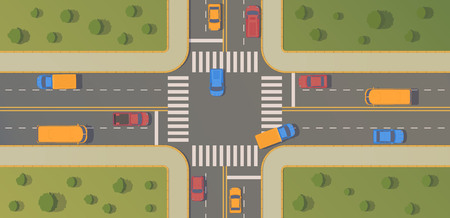 Crossroads of two roads with motion cars, pedestrian paths, curbs and boards, road markings, grass, bushes and trees. Top view vector flat illustration. 向量圖像