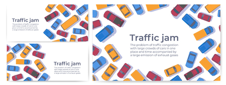 Traffic jam. Large congestion of cars. Set of web banner or poster design template. Top view vector flat illustration.