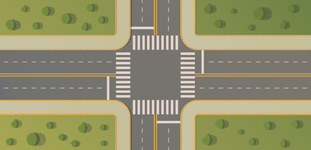 Incrocio di due strade con percorsi pedonali, cordoli e assi, segnaletica orizzontale, erba, cespugli e alberi. Illustrazione piana di vettore di vista superiore.