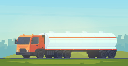 Tank truck transportation, oil, gasoline to gas stations, water and liquid substances. Semitrailer with a reservoir for fluid. Summer and spring landscape. Vector flat style illustration.