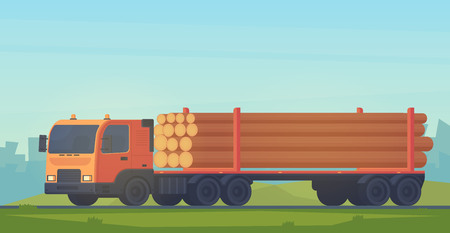 Logging truck isolated on white background. Truck with trailer for transportation of raw wood and timber products. Foresty industry. Vector flat illustration. Ilustração