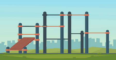Summer street workout park for fitness and strength training. City sport place. Element and equipment for urban outdoor training. Flat illustration