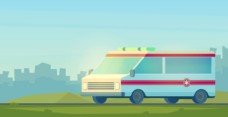 Ambulance car on road. The machine for providing the first necessary emergency medical assistance. Vector cartoon style 向量圖像