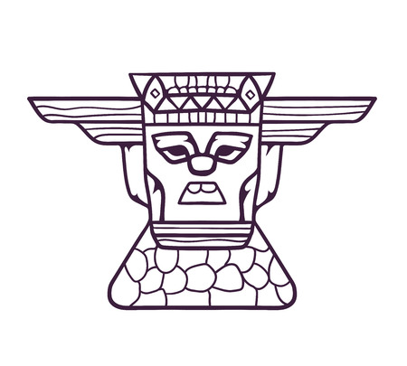 Hand draw wooden totem mask. A wooden mask on a stone pedestal, with emotional expressions. Vector linear illustration.