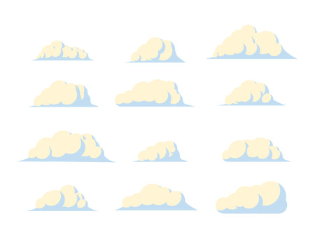 Set of cartoon clouds. Vector flat illustration.